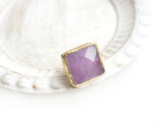 Adjustable Square Lilac Jade Stone Gold Plated Ring