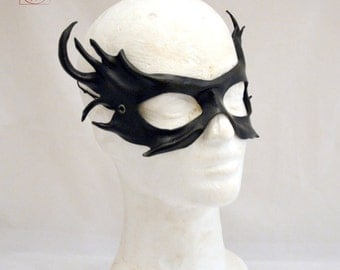 Black Leather Cosplay Woodland Masquerade Fancy Dress Fairy Sprite Mask