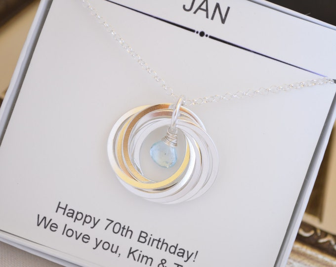 70th Birthday gift for mom and grandmother necklace, 7th Anniversary gift for women, December birthstone necklace, Mom jewelry, Blue topaz