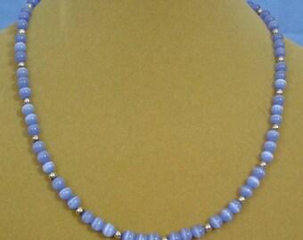"Pretty 19"" Light Blue Glss ""Cats Eye"" beaded necklace - N498"