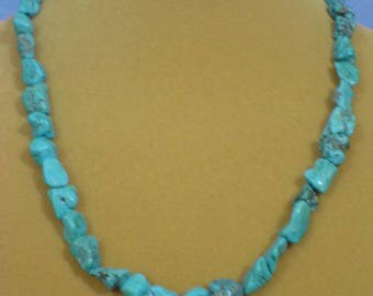 """Beautiful Vintage 21"""" Turquoise Nugget and Silver Necklace - VN040"""