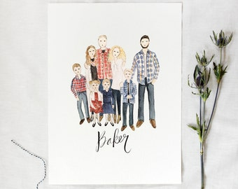 Custom Family Portrait, Watercolor Portrait, Wedding Gift, Family Painting