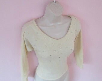 Sparkly Vintage 1950s 50s Off White Sweater Pullover Jumper with Rhinestones & Pearls Detail Dolman/Batwing Sleeves-Bad Girl-Pinup-Bombshell