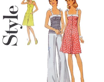 1970s Shoulder tie Dress Sewing Pattern - Size 16 Bust 38 - Style 4711 - Knee length dress, button front, Patch pockets, Pants and top.