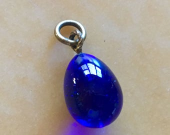 ANTIQUE EGG CHARM A Stunning Cobalt Blue Glass Egg Charm from Paris in the 1920's for a Pendant or Charm Bracelet