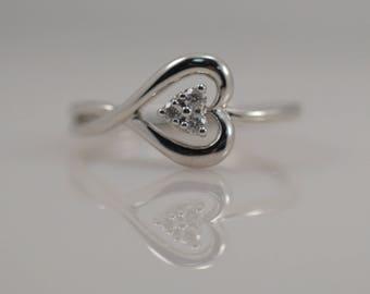 1/10 cttw Carat Diamond Heart Ring Promise 10k White Gold Engagement Delicate Love