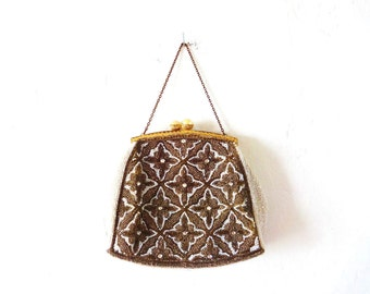 Vintage French 1930s-1940s White and Gold Beaded Kiss-Clasp Evening Purse