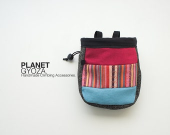 Chalk Bag - patchwork striped woven fabric / red and green / original chalk bag idea