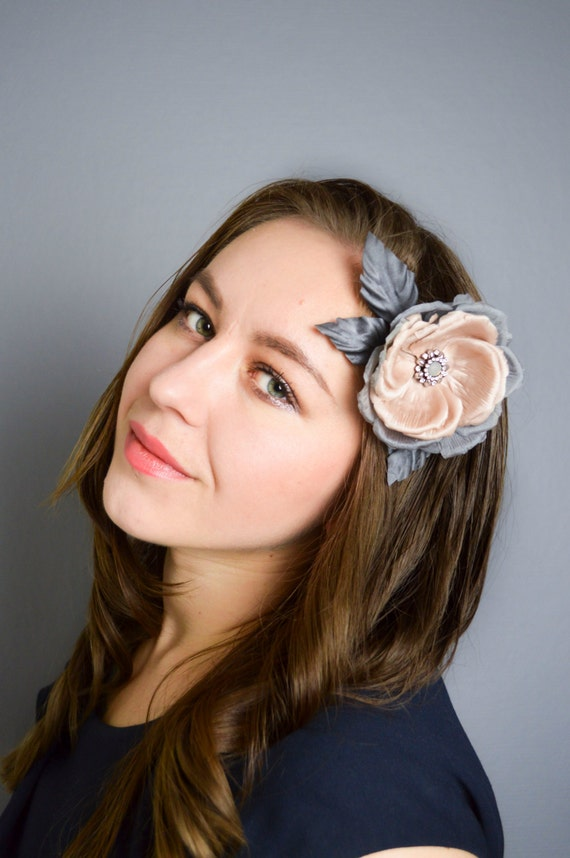 Pink & Grey Rose Hair Clip/ Brooch -  Hair Flowers - Floral Hairpiece - Floral Brooch - Pin Up - Gray Hair Accessories