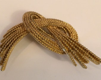 Vintage Gold MONET Brooch ~ Abstract Goldtone ~ Fashion ~ Lapel Pin ~ Signed