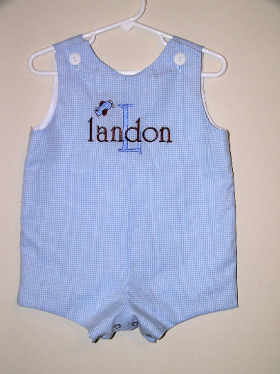 Airplane Mini Design Jon Jon, Blue Gingham Romper