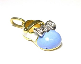 Vintage Baby Shoe Pendant Charm in Solid 18K Yellow Gold Blue Enamel and Diamonds - Weight 8.8 Grams - Baptism - Birth - Baby Boy # 831