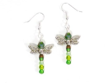 Dragonfly Earrings, Green Fairy Dangle, Copper Crystal Dangle Spring Jewelry, Silver Wing Nature Insect