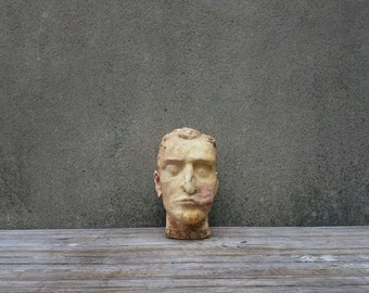 Antique Mortician Mortuary School Reconstruction Practice Head Death Mask (Reserved)