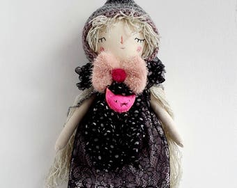 """15"""" Pixie Doll with Pink Cat, Dress Up Doll, Rag Doll, OOAK Doll, Cloth Art Doll, Heirloom Doll, Gift for Girls"""
