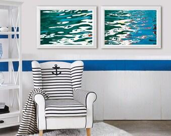Abstract water prints, large wall art set of 2 Modern photography, abstract sea art prints, blue nautical bathroom wall decor, 20x30, 24x36