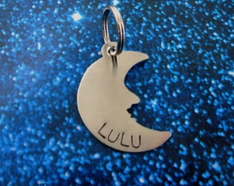 Crescent Moon Pet ID Tag- Handmade - Copper Nickel or Brass - Personalize - Unique Moon Dog Tag