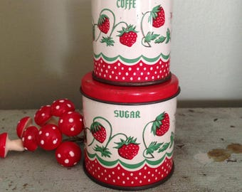 Antique Wolverine Tin Toy Sugar and Coffee Canisters Strawberry Design 1940s Collectible Kitchen Decor Doll Collectibles