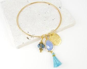 Blue Tassel Bracelet, Aqua Gold Bangle Bracelet, Blue Charm Bracelet, Gold Boho Bangle Bracelet, Large Tassel Bracelet |BB2-2