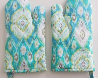 Oven Mitts Pair, Kitchen, Chef, Cookware, Pot Holder, Teal, Aqua, Blue Ikat