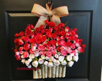spring wreath, Valentine's Day wreath, front door wreaths, outdoor wreaths decorations, spring wreath