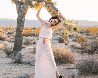 vintage 1970s blush pink disco maxi dress