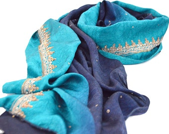 blue silk scarf, embroidered satin shawl, satin shawls, ombre scarves, sequin scarf, navy sky blue wedding, bohemian, indian shawl
