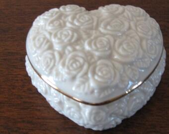 Lenox china heart shaped trinket box