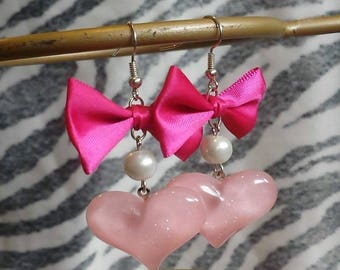 Pink Bow Sweet Heart Earrings
