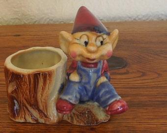 Vintage Ceramic Pixie Elf and Stump Planter Toothpick Holder Japan