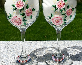Wine Glasses Hand Painted Pink and White Roses and Wine Glass Charms Set of 2-12 oz, Anniversary Gift, Birthday Gift, Wedding Gift