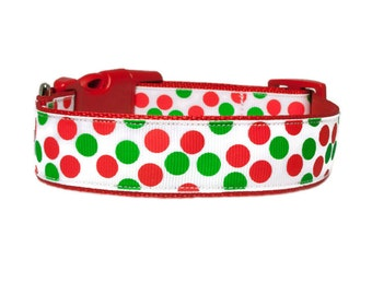 "Christmas 1"" Dog Collar - Santa Red Dog Collar"