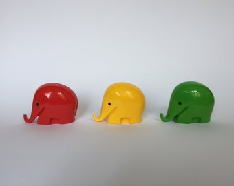 SALE 10% OFF Vintage Set of 3 Colani Style Elephant Piggy Banks. Space Age. Green. Red. Yellow. 1960s. German. Piggy Bank. Drumbo. 2017_014