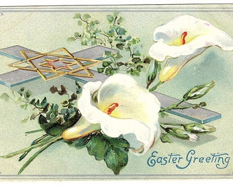 EASTER GREETING Vintage Postcard, Raphael Tuck, Embossed, Cross, Star, Calla Lily, Lilies, used, 1910s