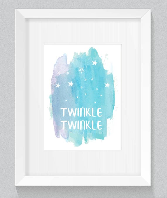 Twinkle Twinkle Little Star Soft Pastel Watercolor Blue Green Playroom Nursery Navy Cream Background Print - Digital Instant Download