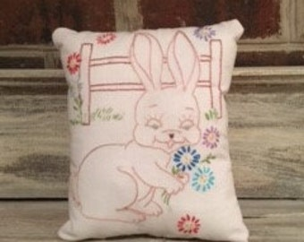 Vintage Embroidery Bunny Pillow with Quilt Backing