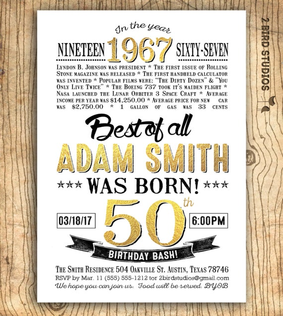 Th Birthday Invitation For Men Surprise Th Birthday - 50th birthday invitation images