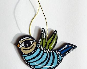 "Bird Ornament - Christmas Tree Decor - 3"" Handmade and Signed Cute Bird Wood Flat Ornament. Bird Gift, Bird Art. One of a kind."