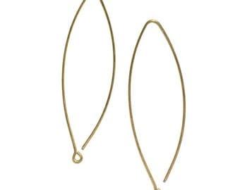 4 Brass Ear Wire, Long Ear Wire, 65x19 mm