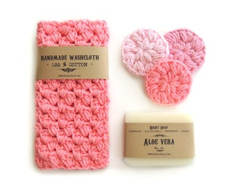 Gift set for WOMEN, Mothers  day gifts, Gift for Her, Gift Women, Natural Soap, Washcloth, Face Scrubbies, Gift for Mother, Gift for Mom,