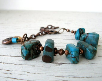 Chunky Turquoise and Brown Bracelet, Stone Nugget Bead Bracelet, Blue and Copper Gemstone Bracelet, Southwestern Jewelry