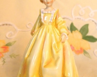 Vintage Figurine Royal Worcester Grandmothers Dress 3081 Yellow Circa 1961 | Bone China Figurine Made in England