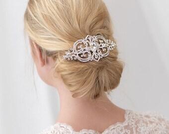 Vintage Bridal Hair Comb, Antique Wedding Hair Comb, CZ Bridal Comb, CZ Wedding Comb, Bridal Hair Accessory, Rhinestone Hair Comb ~TC-2287