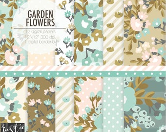 Floral digital paper pack in blue green, delicate peach, very pale yellow and khaki gold. Wedding digital paper.