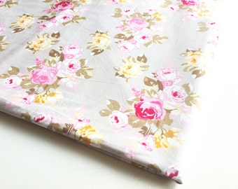 Beauty Rose Fabric, Painted Rose style on Grey fabric, Pink Yellow floral, Wedding, Spring, Love Rose, Lady dress, Girl, Pyjama, Ipad, CT634