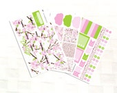 April Monthly View Planner Sticker Kit, Vinyl Stickers, Cherry Blossoms, Spring Day, Floral, Happy Planner Sized