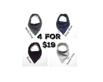 Baby Bandana Bib Scarf Set of 4 in Grey, Navy and Black Jersey Knit with Snap Closure for Boy or Girl