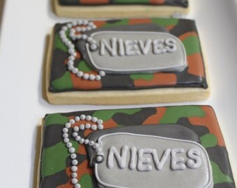 Army Military DOG TAGS cookies 1 Dozen (12)