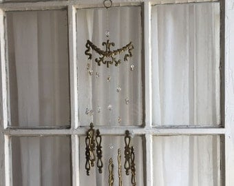 Brass Fixture Chimes, Victorian Decor, Old Brass Chimes, Repurposed Chimes, Escutcheon, Repurposed Drawer Pull Chimes, Hardware Chimes