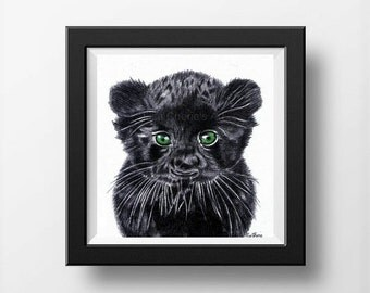 Baby Panther Drawing, Cute Baby Animal Art, Nursery Art, Baby Animal Drawing, Baby Panther Art, Baby Animal Nursery Drawing